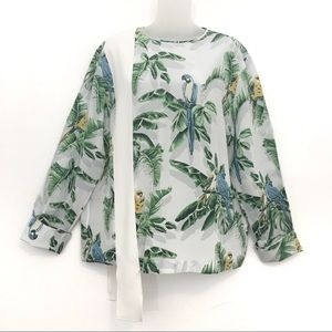 Stella McCartney Top Silk Parrot Sash Blouse 46 12